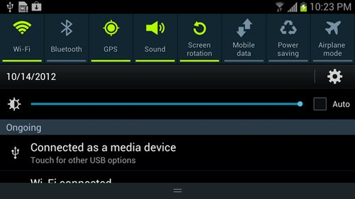 Quick Settings on Android 4.2.2