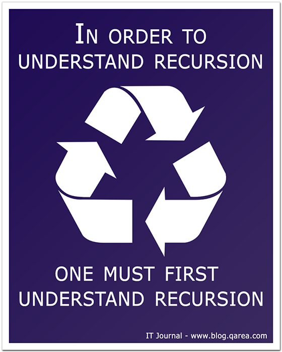 In order to understand recursion, one must first understand recursion. @QArea
