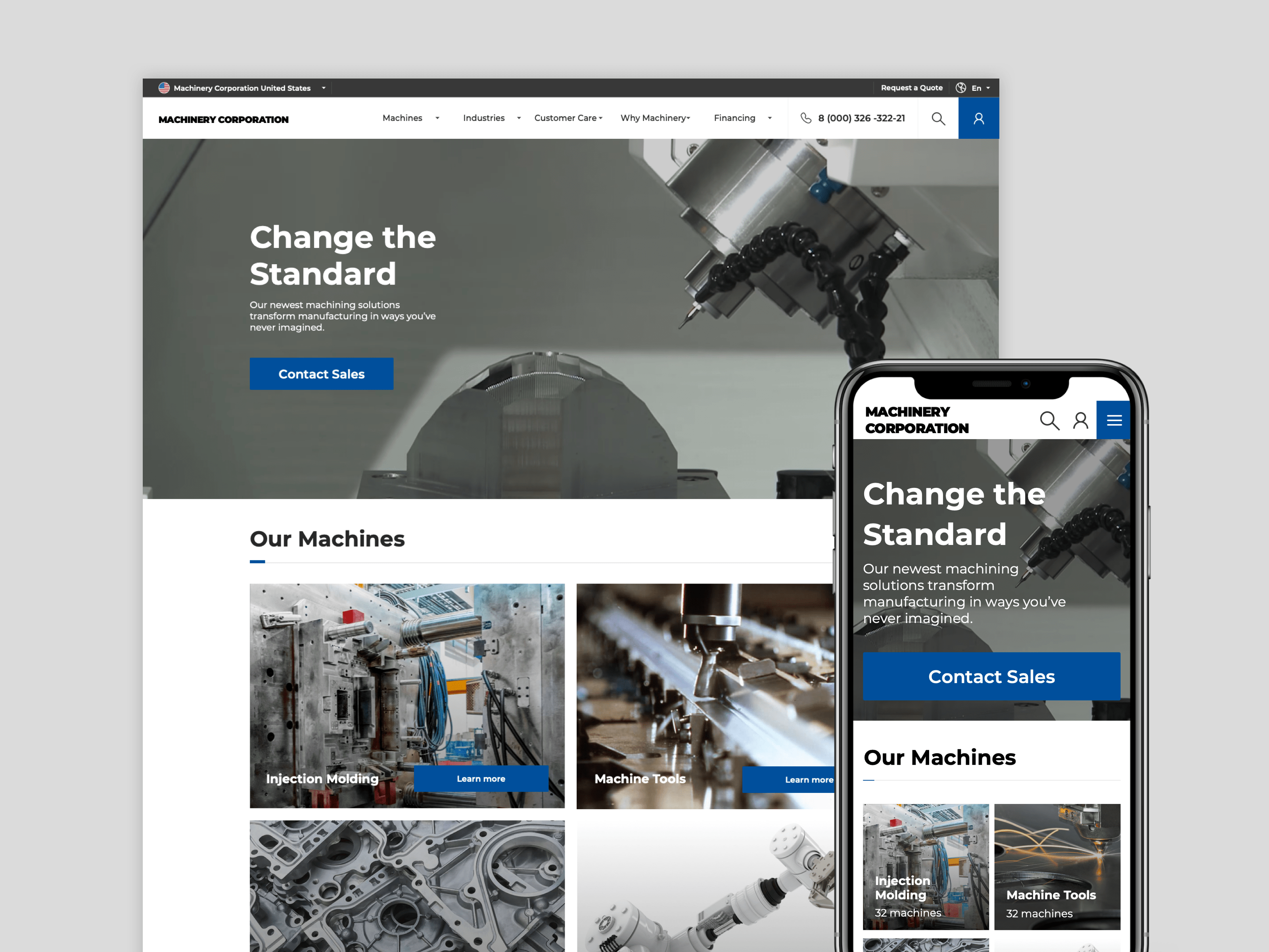 Website for industrial machinery manufacturer 2