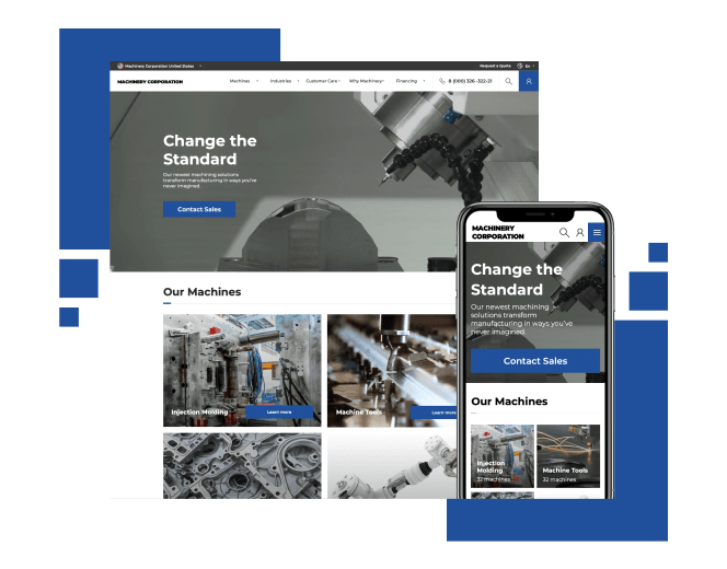 Websites for industrial machinery manufacturer