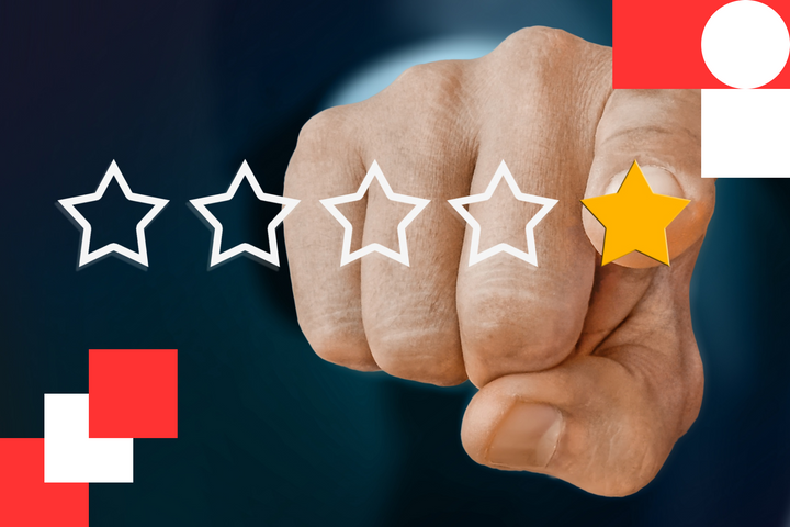 A person is tapping the screen of their smartphone, giving a mobile application a well-deserved 5-star rating.