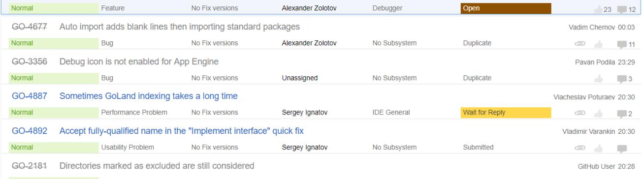 Golang issue tracker on JetBrains